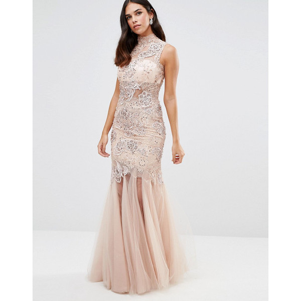 FOREVER UNIQUE Kassidy Embellished Maxi Dress With Net Skirt - Maxi dress by Forever Unique, Semi-sheer fabric, High...