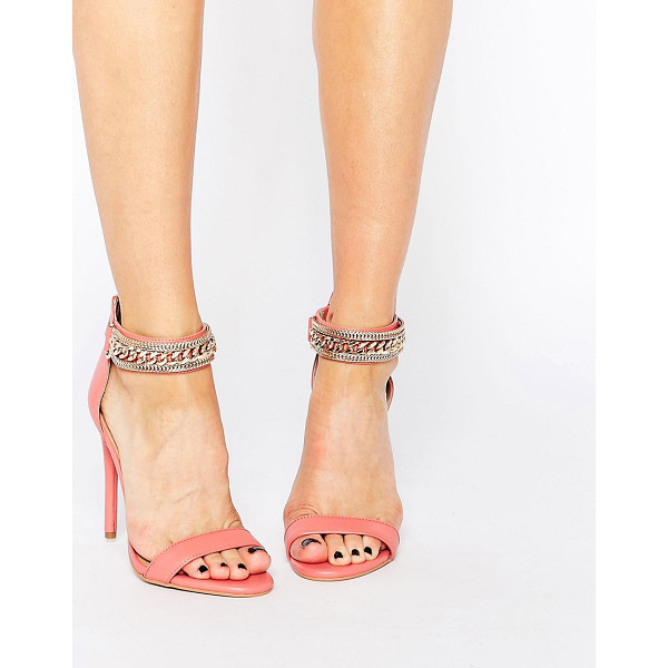 FOREVER UNIQUE Totem Embellished Barely There Leather Heeled Sandals - Shoes by Forever Unique, Real leather upper, Barely-there...