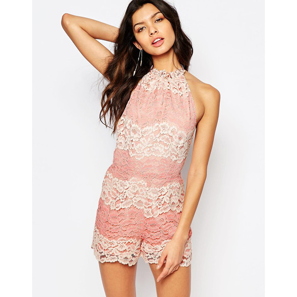 FOXIEDOX Bella Paneled Lace Romper - Romper by Foxiedox, Lined lace, Halter neckline, Tie...