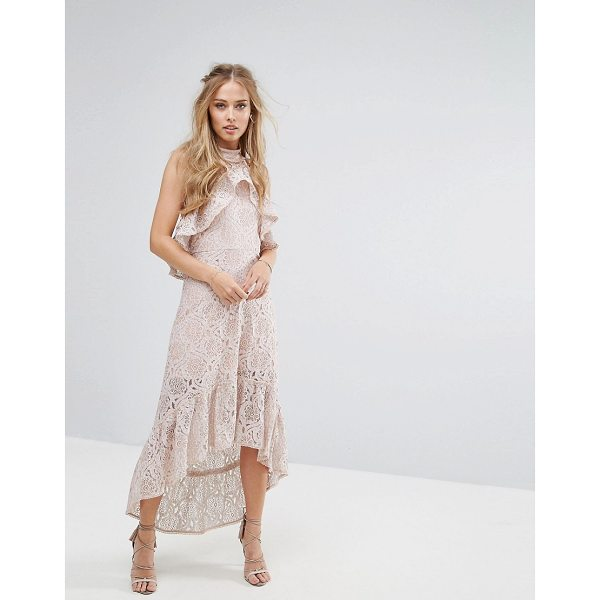 """FOXIEDOX Halter Neck Lace Hi-Low Dress - """"""""Lace dress by Foxiedox, Sheer lace, Partially lined,..."""