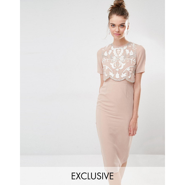 """FROCK AND FRILL Embellished Overlay Pencil Dress - """"""""Pencil dress by Frock and Frill, Lined woven fabric,..."""