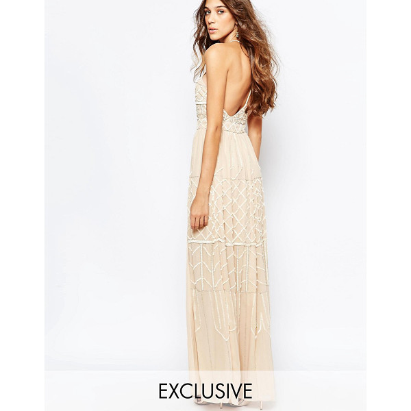 """FROCK AND FRILL Embellished Plunge Neck Maxi Dress With Open Back - """"""""Maxi dress by Frock and Frill, Crepe overlay, Lined..."""