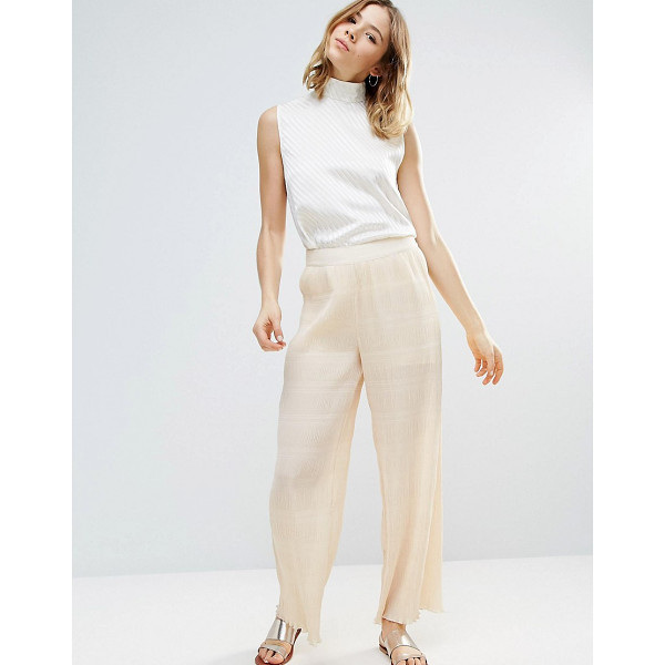 "GANNI Hall Pleat Effect Pants In Ivory - """"Pants by Ganni, Textured pleated fabric, Semi-sheer..."