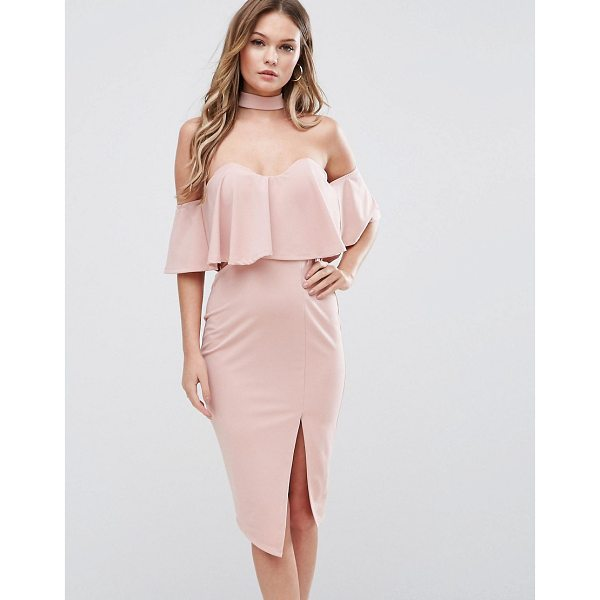 GINGER FIZZ Bardot Midi Dress with Overlay And Choker Detail - Bodycon dress by Ginger Fizz, Smooth knitted fabric,...
