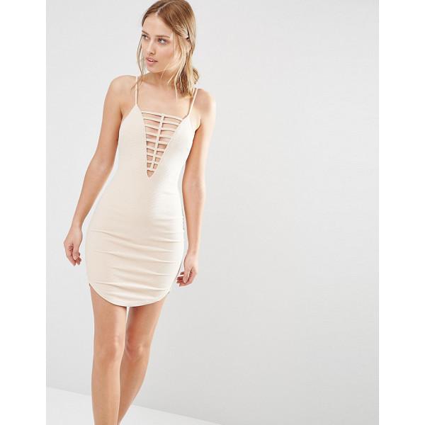 GINGER FIZZ Ladder Front Mini Dress - Dress by Ginger Fizz, Ribbed knitted fabric, Plunge...