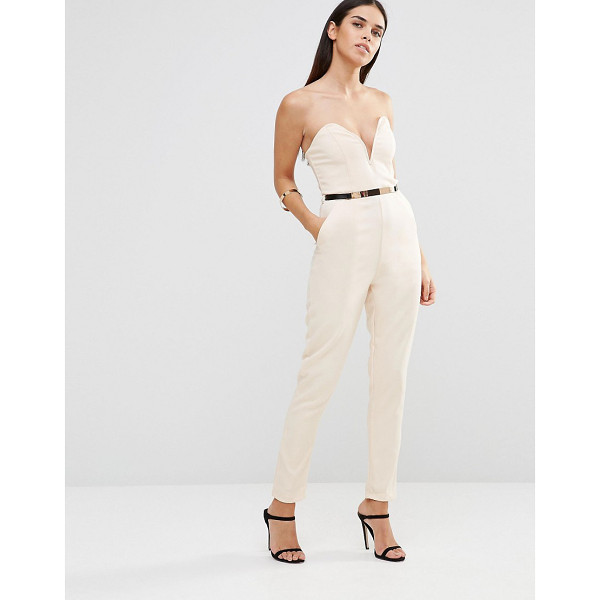 GIRL IN MIND Bandeau jumpsuit with belt - Jumpsuit by Girl in Mind, Lightweight textured woven...
