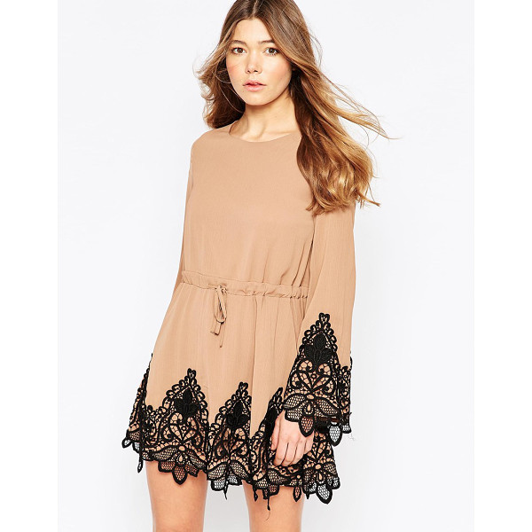 GIRL IN MIND Bev bell sleeves crochet trim skater dress - Casual dress by Girl In Mind Lined textured chiffon Crew...