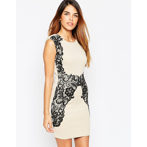 GIRL IN MIND Body-conscious dress with contrast lace detail - Evening dress by Girl in Mind Soft touch, stretch jersey...