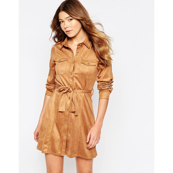 GIRL IN MIND Faux suede button front long sleeves shirt dress - Casual dress by Girl In Mind, Super soft-touch faux suede,...