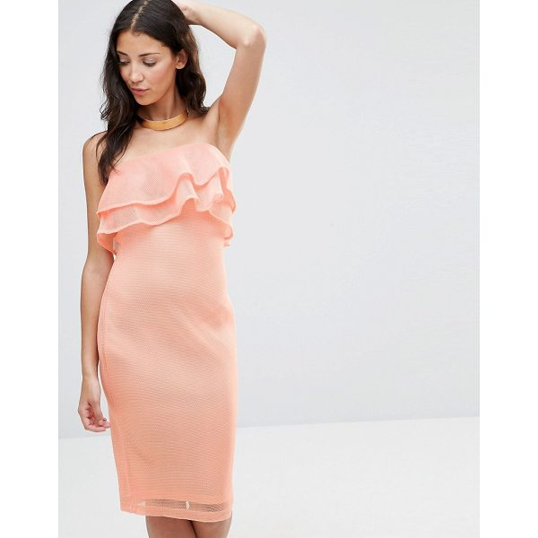 """GIRL IN MIND India Bandeau Frill Mesh Bodycon Midi Dress - """"""""Party dress by Girl In Mind, Lined mesh, Bandeau..."""