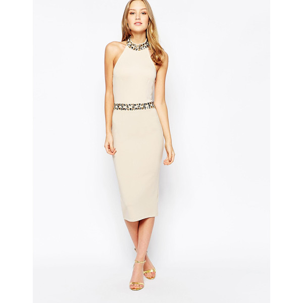 GIRL IN MIND Midi dress with embellished waist and neckline - Midi dress by Girl In Mind Smooth stretch fabric Halter...