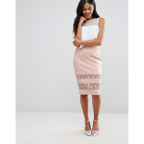 GIRLS ON FILM Girls On Film Pencil Skirt With Lace Panels - Skirt by Girls On Film, Woven fabric, High-rise waistband,...