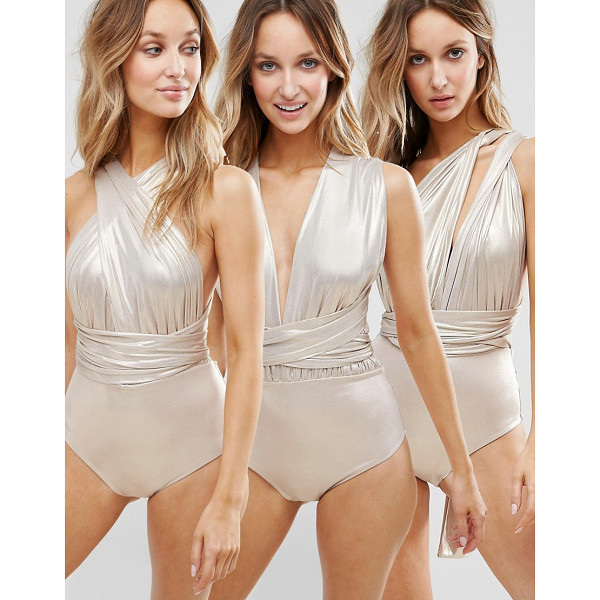 GODDIVA Multiway Swimsuit - Swimsuit by Goddiva, Stretch swim fabric, Metallic finish,