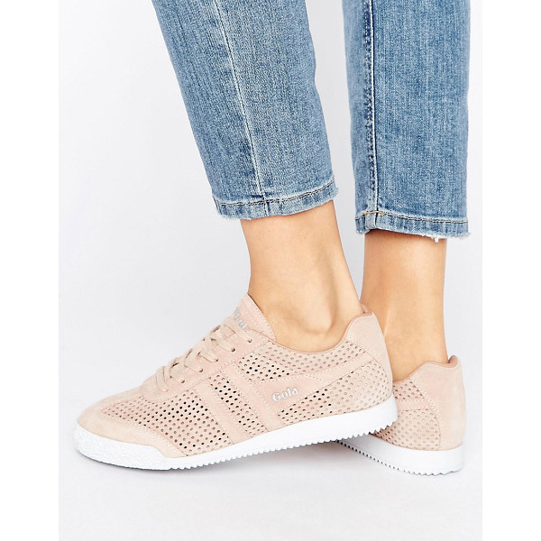 GOLA Harrier Blush Pink Perforated Suede Sneakers - Sneakers by Gola, Suede upper, Mesh panels, Lace-up design,...