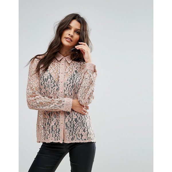 "GOLDIE Hooked On You Rose Floral Lace Blouse - """"Top by Goldie, Sheer lace, Point collar, Long sleeves,..."
