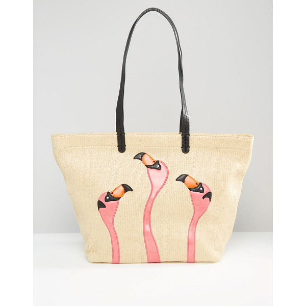 GRACIE ROBERTS Flamingo shopper tote bag - Cart by Gracie Roberts, Faux leather, Twin handles, Open...