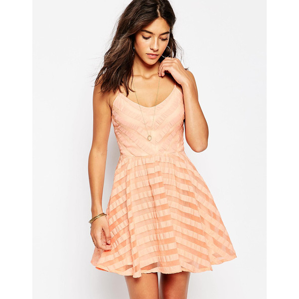 GREYLIN Finley lace up back skater dress - Casual dress by Greylin Lined, woven fabric Sheer stripe...