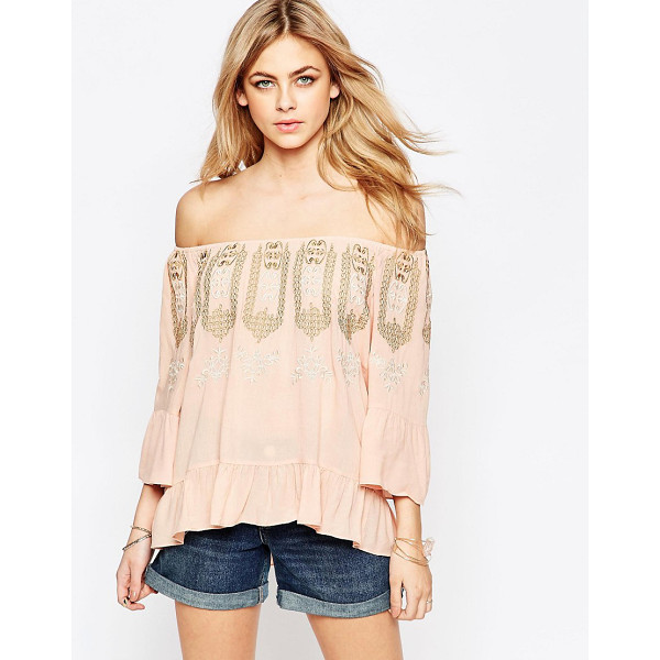 HAZEL Embroidered neck blouse - Top by Hazel, Woven crepe fabric, Soft-touch finish,...