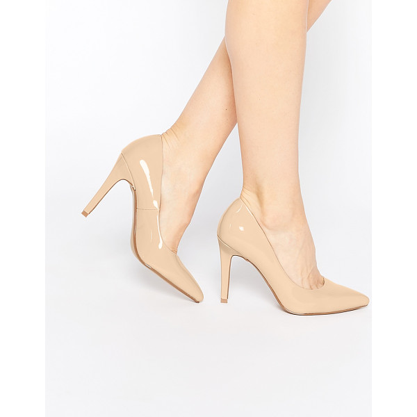 HEAD OVER HEELS Head over Heels By Dune Addyson Nude Patent Heeled Pumps - Heels by Head Over Heels by Dune, Faux-leather upper,...