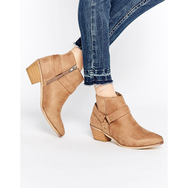HEAD OVER HEELS By Dune Penley Taupe Western Ankle Boots - Boots by Head Over Heels by Dune, Faux-suede upper, Almond...