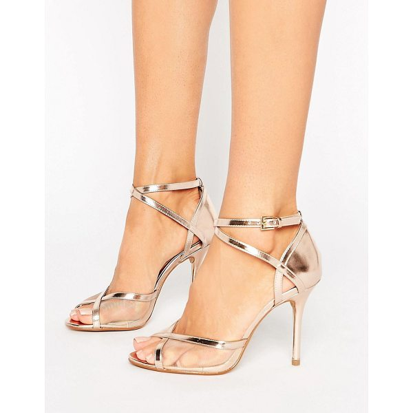 "HEAD OVER HEELS Head Over Heels By Dune Meryl Rose Gold Heeled Sandals - """"Heels by Head Over Heels by Dune, Faux-leather upper,..."