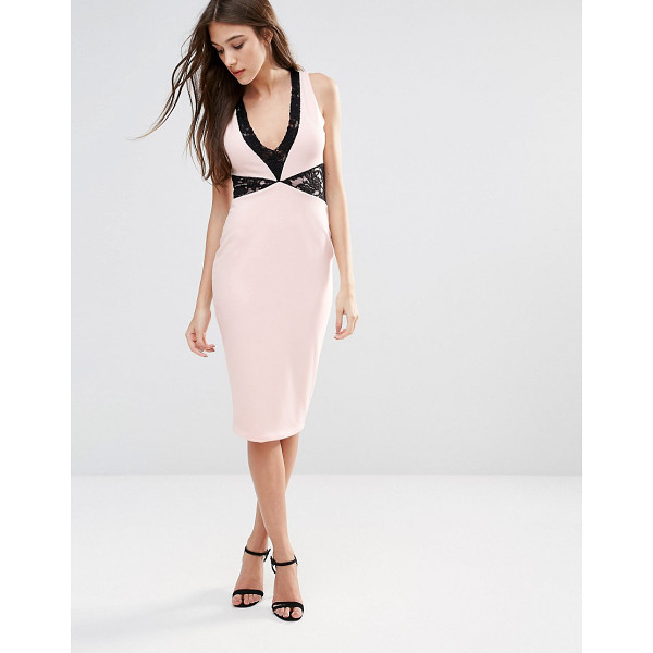 HEDONIA Midi Pencil Dress With Lace Inserts - Midi dress by Hedonia, Stretch fabric, V-neckline, Lace