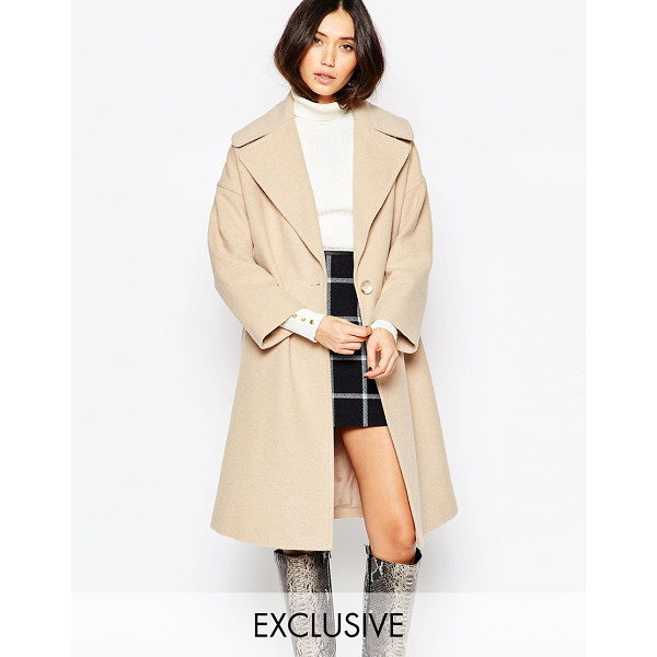 HELENE BERMAN Taupe oversize collar coat - Coat by Helene Berman Made in England Wool-mix fabric...