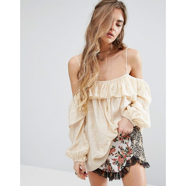 """HONEY PUNCH Cami Top With Frill Detail - """"""""Top by Honey Punch, Textured woven fabric, Bardot neck,..."""