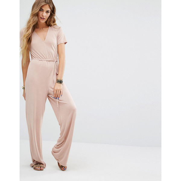 HONEY PUNCH Easy Jumpsuit With Tie Waist - Jumpsuit by Honey Punch, Soft knitted fabric, V-neckline,...