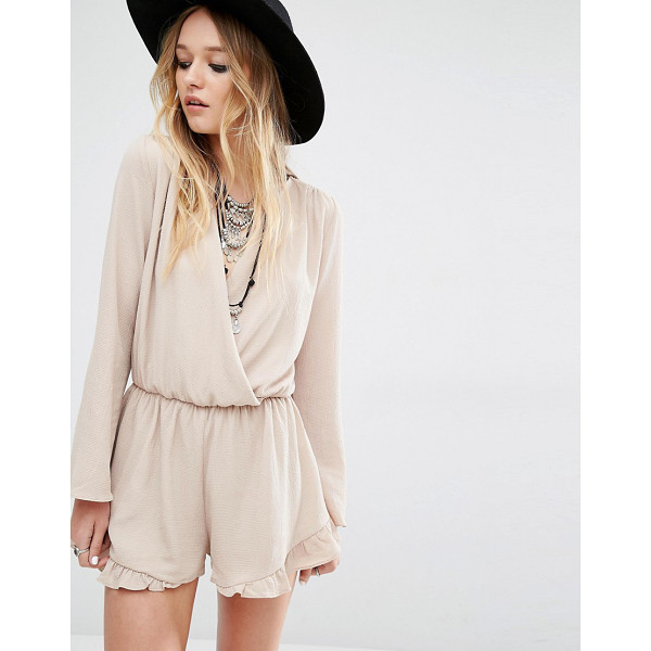 HONEY PUNCH Wrap Front Drapey Romper With Frill Hem - Romper by Honey Punch, Lined woven fabric, Wrap top,...