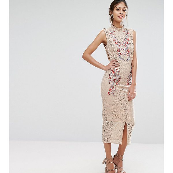 "HOPE AND IVY Hope & Ivy Embroidered High Neck Midi Dress In Allover Lace - """"Dress by Hope and Ivy, Lined lace, High neck, Frill..."