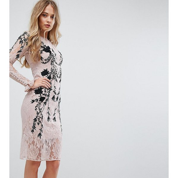 """HOPE AND IVY Hope & Ivy Long Sleeve Embellished Backless Dress - """"""""Dress by Hope and Ivy, Lined lace, Contrast embroidery,..."""