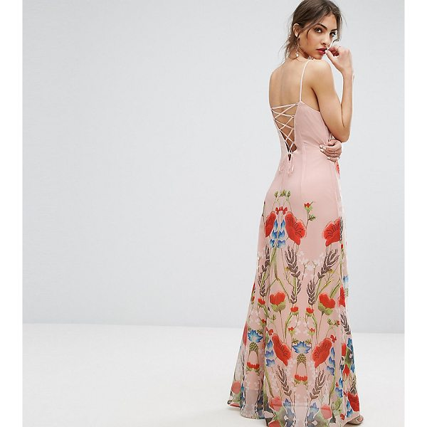 """HOPE AND IVY Hope & Ivy Printed Maxi Dress With Lace Up Back Detail - """"""""Maxi dress by Hope and Ivy, Printed chiffon, Fully lined,..."""