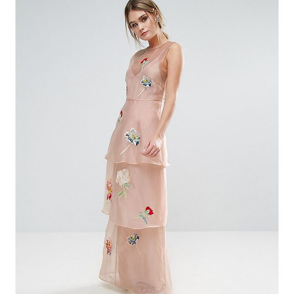 "HOPE AND IVY Hope & Ivy Tiered Maxi Dress With Floral Embroidery - """"Maxi dress by Hope and Ivy, Lined chiffon, Floral..."