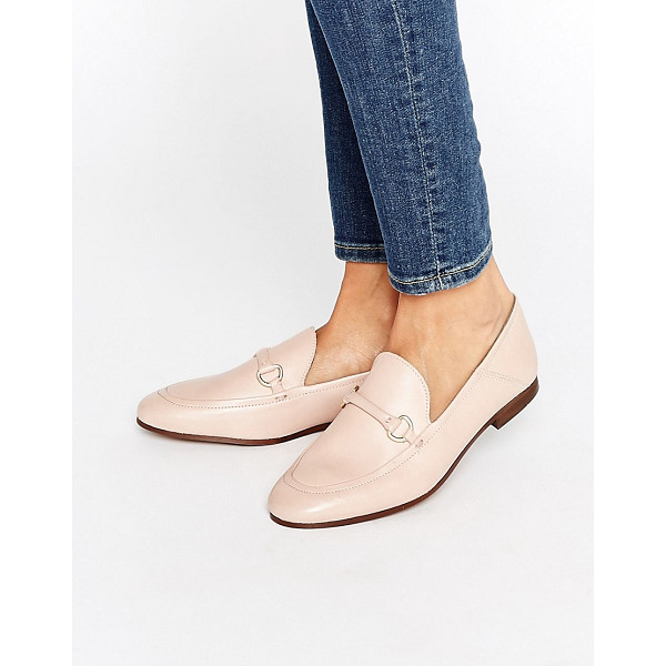 HUDSON LONDON Arianna Blush Leather Loafers - Flat shoes by Hudson London, Smooth leather upper, Slip-on
