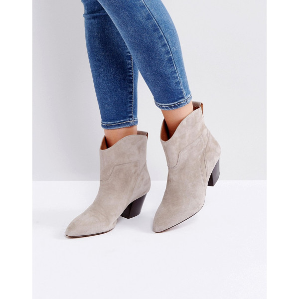 "HUDSON Karyn Taupe Suede Mid Heeled Ankle Boots - """"Boots by Hudson London, Suede upper, Slip-on style, Back..."