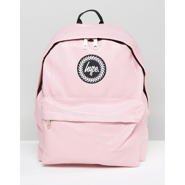 HYPE Pink Cubist Backpack - Backpack by Hype, Faux-leather textured outer, Branded