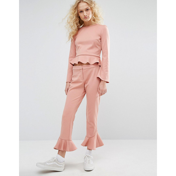 """I LOVE FRIDAY Cropped Pants With Ruffle Hem Co-Ord - """"""""Pants by I Love Friday, Smooth stretch fabric, Mid-rise..."""