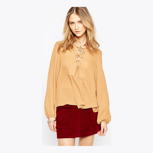 INFLUENCE Lace front long sleeve top - Top by Influence Super lightweight woven fabric Crisp...