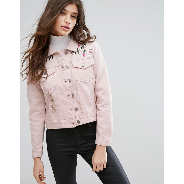 "INFLUENCE Pink Embroidered Distressed Denim Jacket - """"Jacket by Influence, Midweight denim, Light distressing,..."