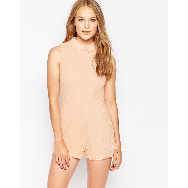 INFLUENCE Point collar lace romper - Romper by Influence, Lined lace, Point collar, High waist...