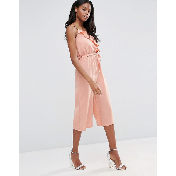 INFLUENCE Ruffle Culotte Jumpsuit - Jumpsuit by Influence, Lightweight fabric, Wrap v-neckline,...