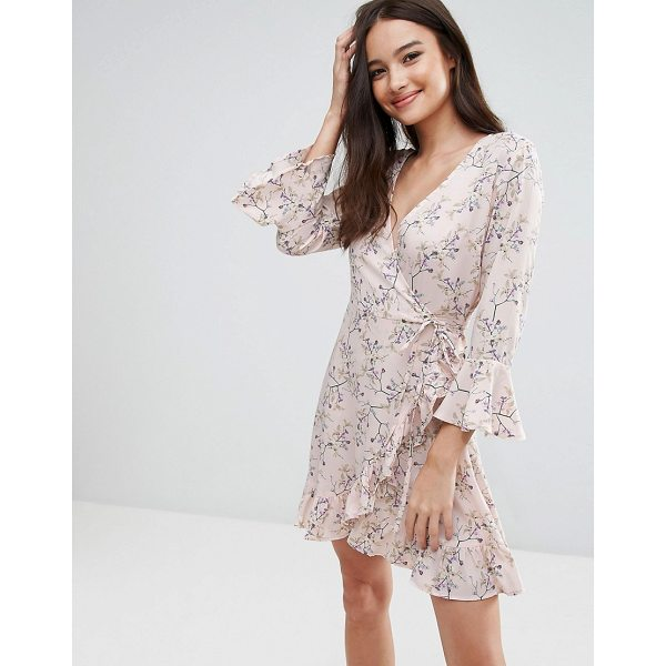 Influence Floral Wrap Over Ruffle Dress Nudevotion Com
