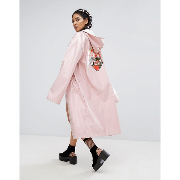 """JADED LONDON Longline Trench In Patent With Back Print - """"""""Trench by Jaded London, Smooth woven fabric, High-shine..."""