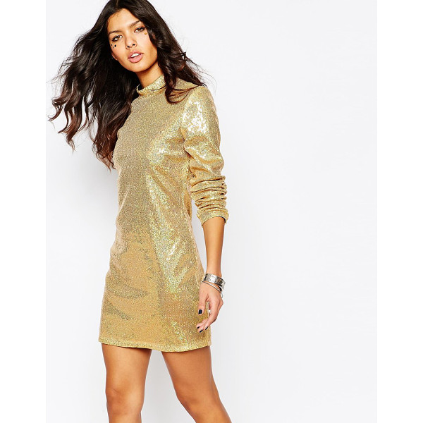 JADED LONDON Sequin Mini Dress With High Neck & Long Sleeves - Dress by Jaded London, Delicate, sequined fabric, Metallic...