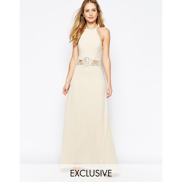 JARLO Aden high neck maxi dress with lace insert - Maxi dress by Jarlo, Lined chiffon, Sheer lace insert to...