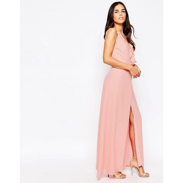 JARLO Maxi Dress With Frill Detail And Front Split - Maxi dress by Jarlo, Mid-weight chiffon, Lined design,...