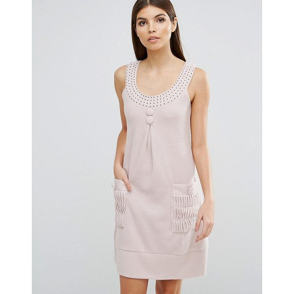 "JASMINE Diamonte Trim Shift Dress - """"Casual dress by Jasmine, Textured fabric, Scoop neck,..."