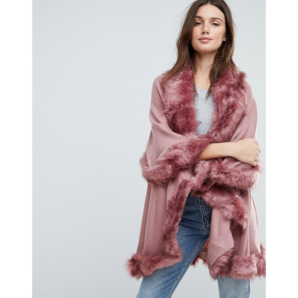 JAYLEY Faux Fur Trim Double Layer Wool Poncho - Poncho by Jayley, Open front, Layered design, Faux-fur...