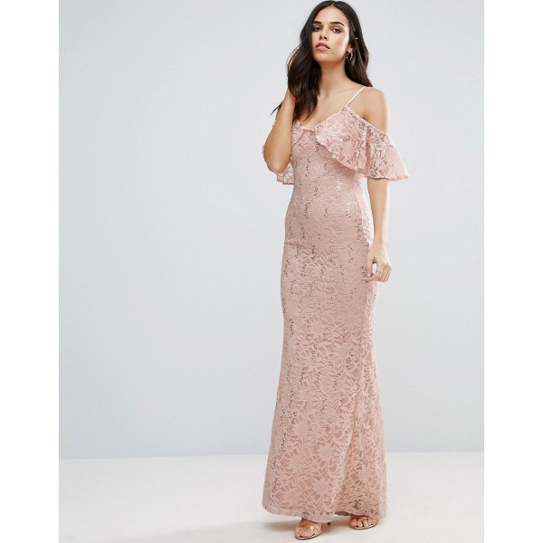 "JESSICA WRIGHT Off The Shoulder Lace Maxi Dress - """"Maxi dress by Jessica Wright, Lined lace, V-neck,..."